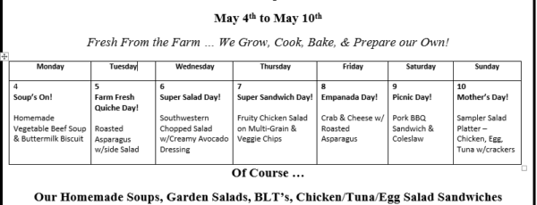 Weekly Lunch Specials – May 4th-May 10th
