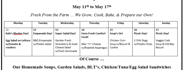 Emily's Lunch Specials May 11 to May 17