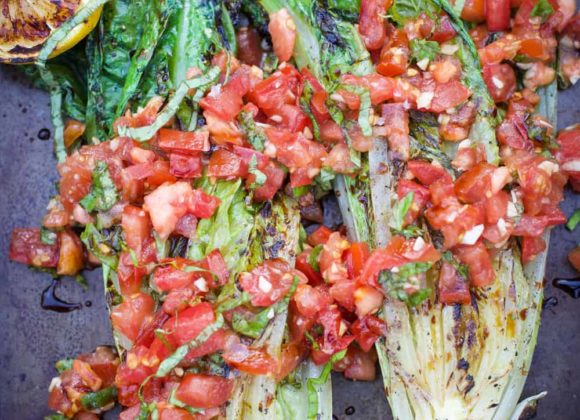 Grilled Lettuce Tomatoes & Basil